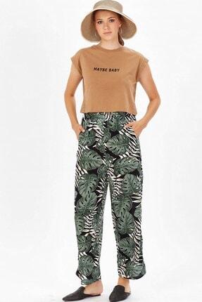 Arma Life Bol Paça Desenli Pantolon - Yeşil Çiçek