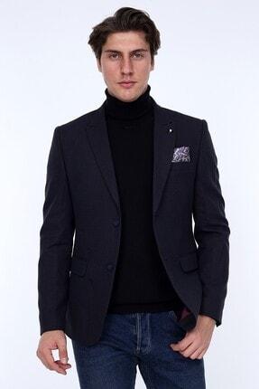 Zen & Zen Zenzen Lacivert Desenli Erkek Blazer Ceket Slım Fıt