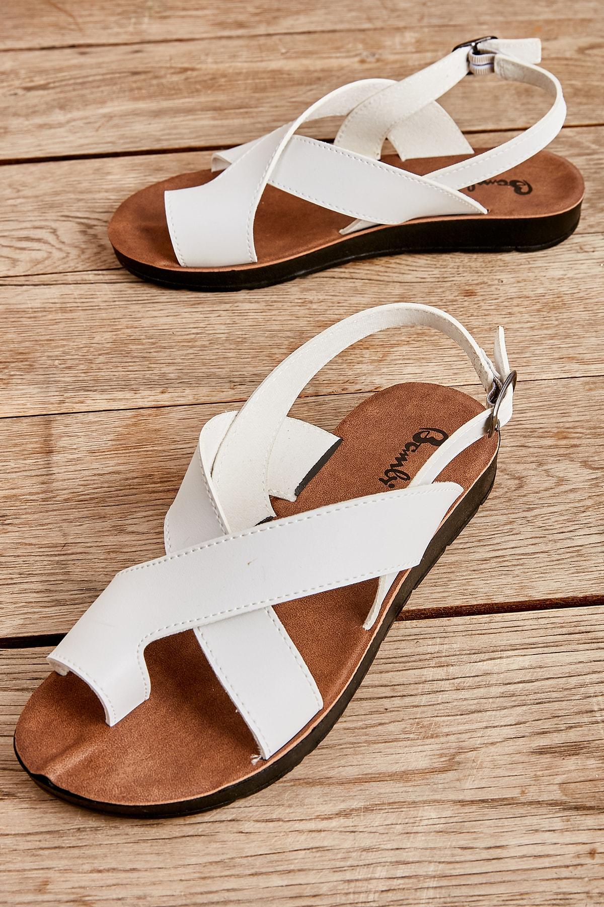 Bambi Beyaz Kadın Sandalet L0642111109 1