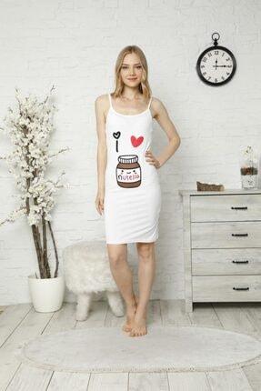 TENA MODA Kadın Beyaz Ip Askılı Nutella Baskı Gecelik Pijama