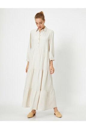 Koton Keten Karisimli Uzun Kollu Gömlek Elbise