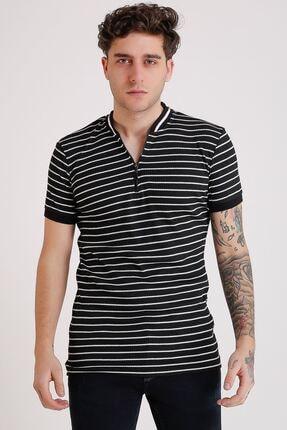 LTC Jeans Erkek Hakim Yaka Siyah Çizgili Fermuarlı T-shirt