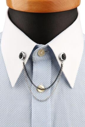 Kravatkolik Gümüş Renk Siyah Taşlı Gömlek Yaka Iğnesi Gı194