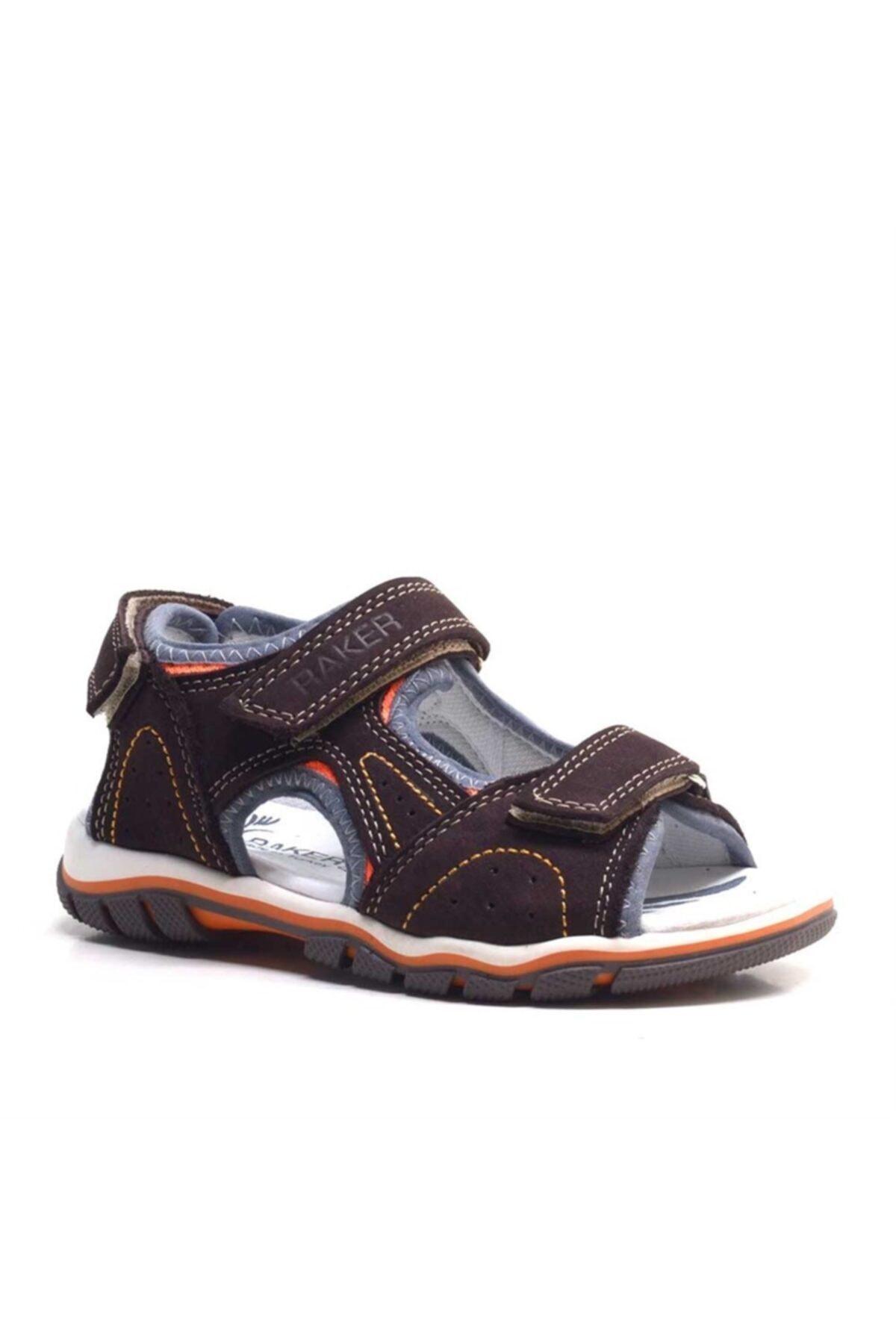 Raker Hakiki Deri Kahverengi Cırtcırtlı Erkek Çocuk Sandalet 1