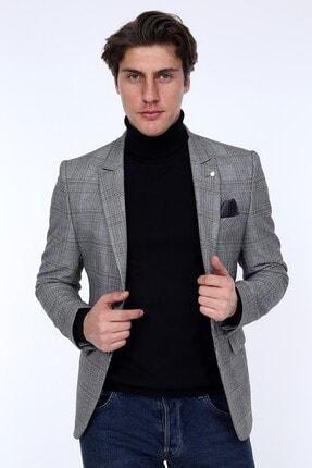 Zen & Zen Zenzen Gri Kareli Erkek Blazer Ceket Slım Fıt 01231