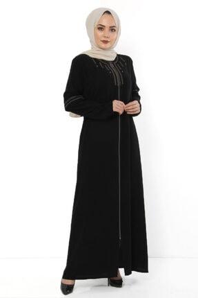 Tesettür Dünyası Nakışlı Büyük Beden Elbise Tsd0925 Siyah
