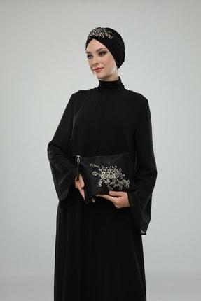fidan bone Kadın Saten Işlemeli Portföy Çanta Ve Bone Kombini Hediye