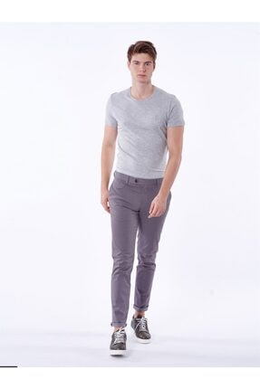 Dufy Gri Baskı Sık Dokuma Erkek Pantolon - Slım Fıt