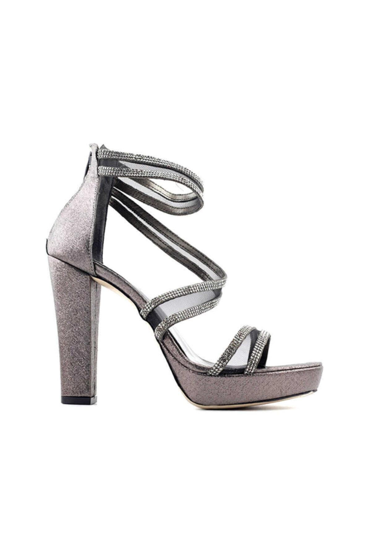 PUNTO 655102 Kadın Topuklu Ayakkabı-platin 1