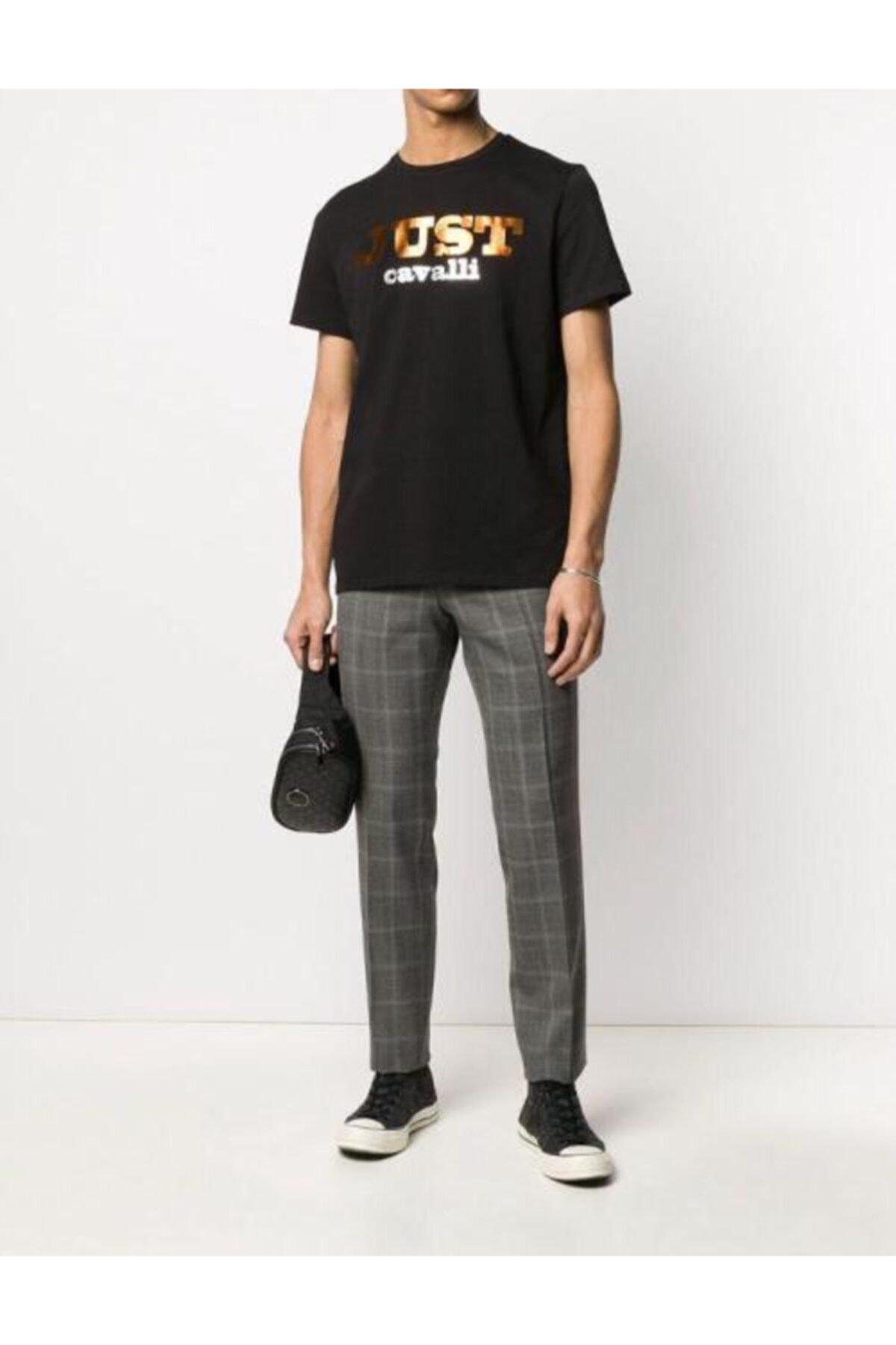Just Cavalli Erkek Reflektör Baskılı Siyah T-shirt 2