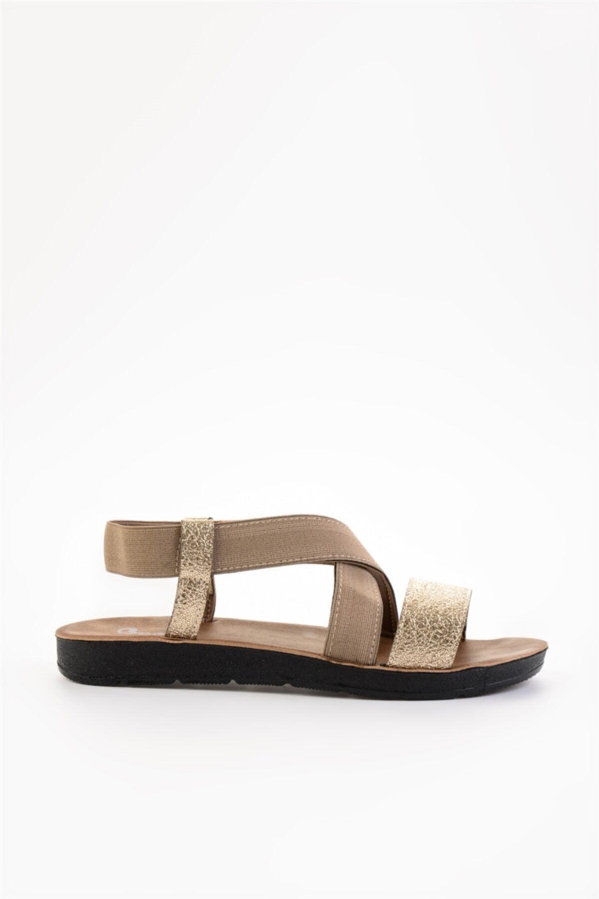 Bambi L.altın/camel Lastik Kadın Sandalet L0642222210 2
