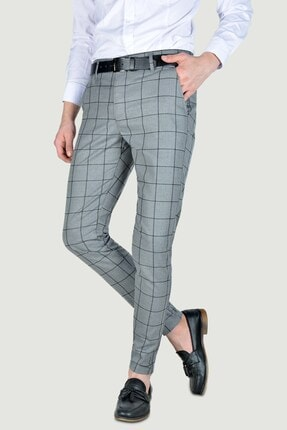 Terapi Men Erkek Ekoseli Slim Fit Keten Pantolon 20y-2200275 Antrasit