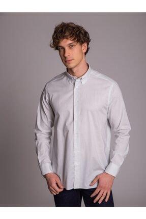 Dufy Krem Desenli Pamuklu Erkek Gömlek - Regular Fit