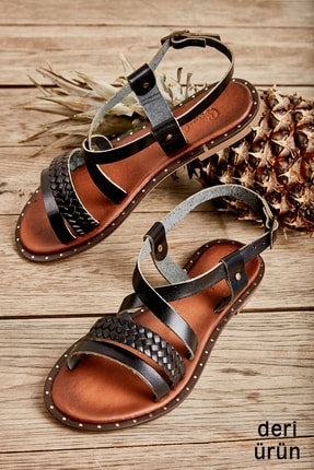 Bambi Siyah/siyah Örgü Kadın Sandalet L0685081403