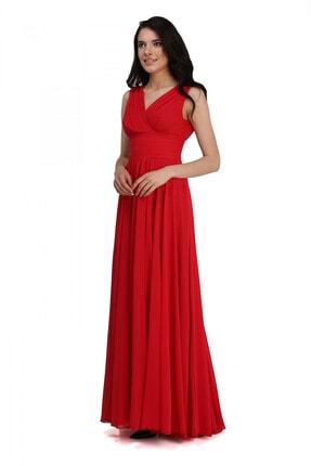 Pierre Cardin Carmen Kırmızı Şifon V Yaka Uzun Abiye Elbise