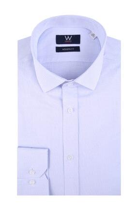 W Collection Mavi Bordo Klasik Easy Iron Gömlek