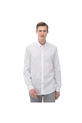 Nautica Nautıca Erkek Slım Fıt Beyaz Keten Gömlek