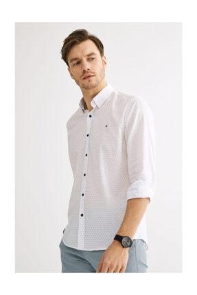 Avva Erkek Beyaz Baskılı Alttan Britli Slim Fit Gömlek A01s2229