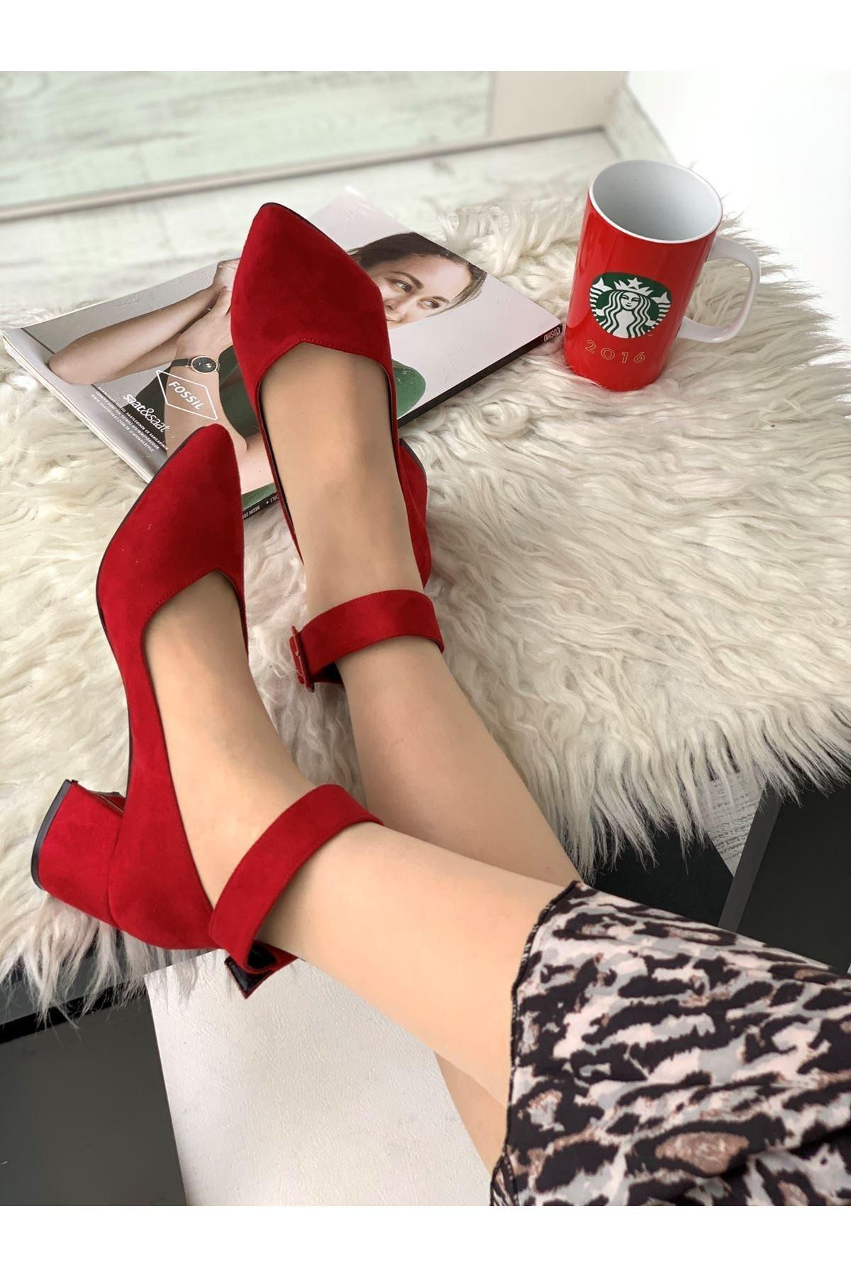 LDÇ Bilekten Kemer Detaylı Kadın Topuklu Ayakkabı-s. Kırmızı 1