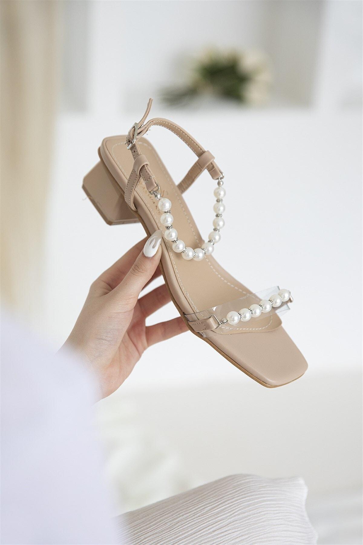 STRASWANS Helly Kadın Inci Detay Topuklu Ayakkabı Ten 1