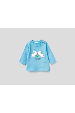 United Colors of Benetton Çocuk Mavi Işlemeli Tshirt