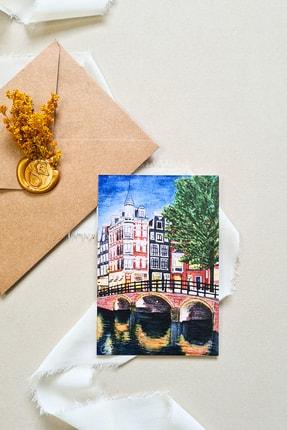 Life & Art Suluboya Amsterdam Kartpostalı & Zarf