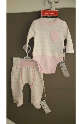 Pierre Cardin Bebek Unisex Pembe Beyaz Melanj Cepli Body Zıbın Seti