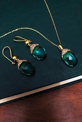Dr. Stone Zümrüt Yeşili Hindistan Kristali Gümüş Set Xdrsott11