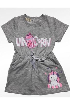 Buse&Eylül Bebe Kız Çocuk Gri Penye Desenli Elbise