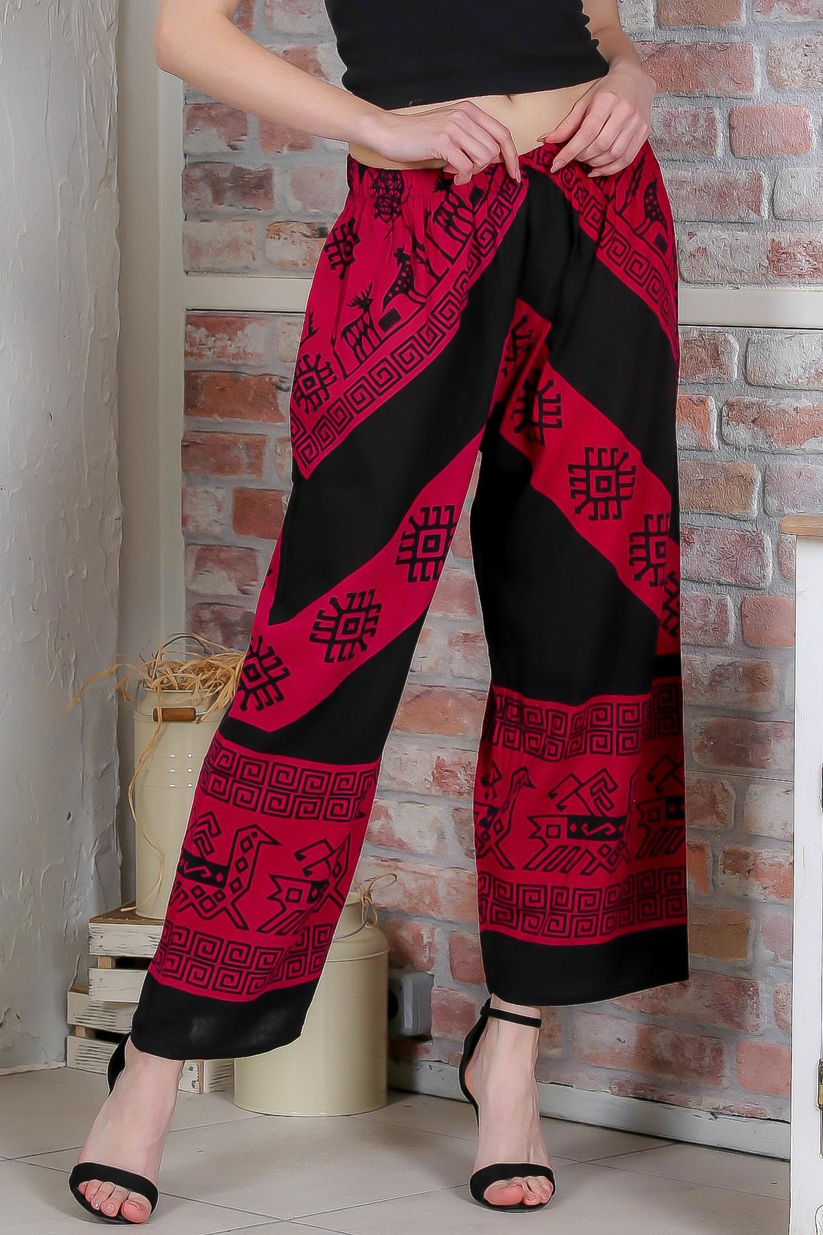 Chiccy Kadın Siyah-Fuşya Eti Taş Baskı Dokuma Pantolon M10060000PN98895