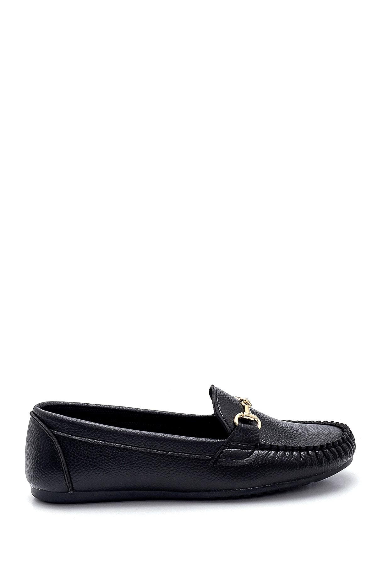 Derimod Kadın Siyah Toka Detaylı Loafer Ayakkabı 1