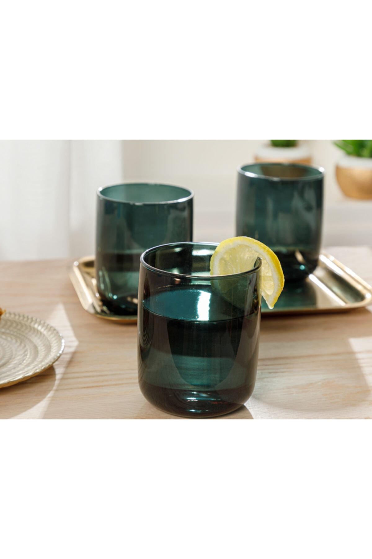 English Home Pia Cam 3'lü Meşrubat Bardağı 270 Ml Koyu Yeşil 2