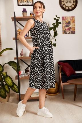 armonika Kadın Siyah Küçük Çiçekli Kolsuz Midi Boy Elbise ARM-21Y001011