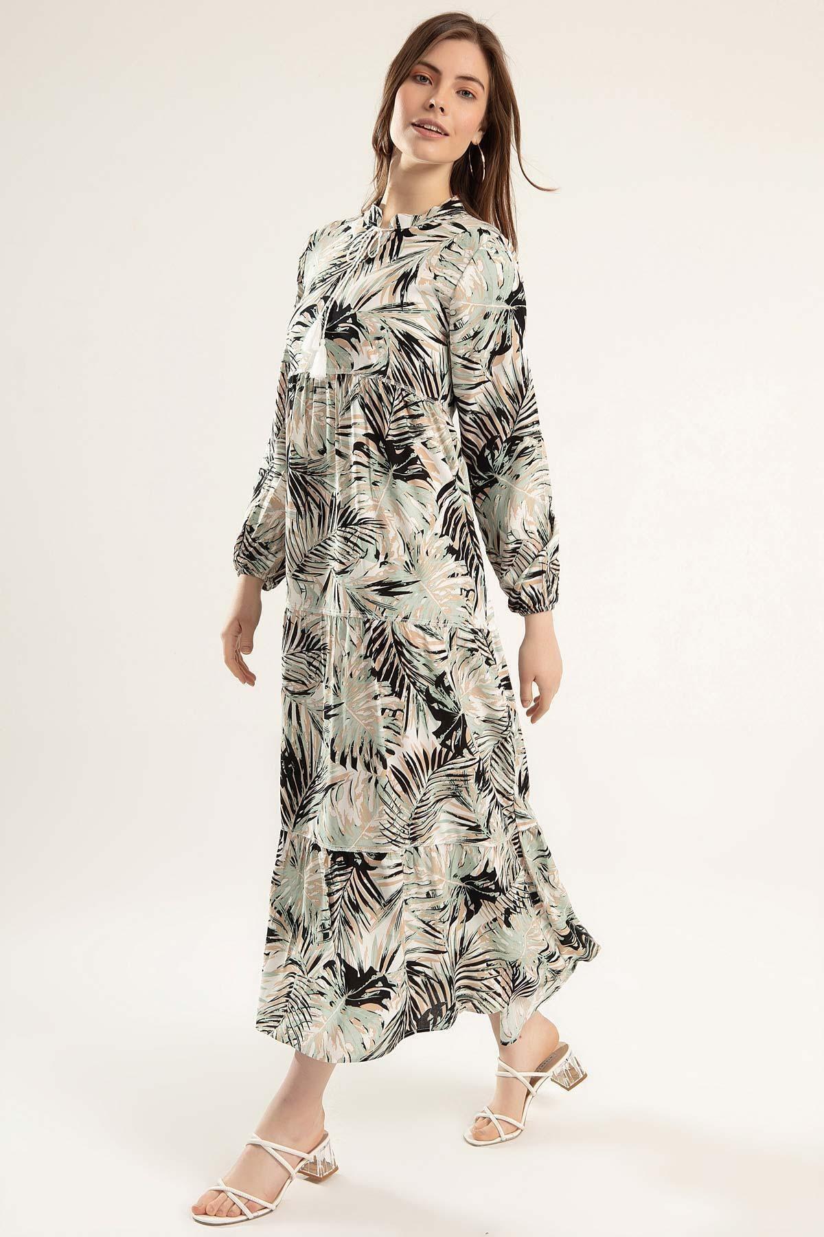 Pattaya Kadın Baskılı Viskon Uzun Elbise Y20s110-1627-1 2