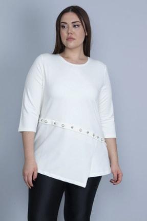 Şans Kadın Kemik İncili Metal Düğme Detaylı Bluz 65N23303