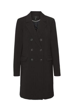 Vero Moda Kadın Siyah Düğme Detaylı Kruvaze Palto 10239163 Vmcarma
