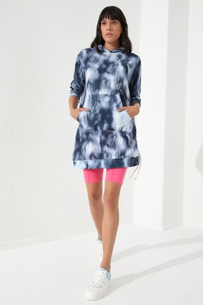 Tommy Life Indigo Kadın Karışık Desenli Büzgü Detaylı Rahat Form Kapüşonlu Sweatshirt-97131