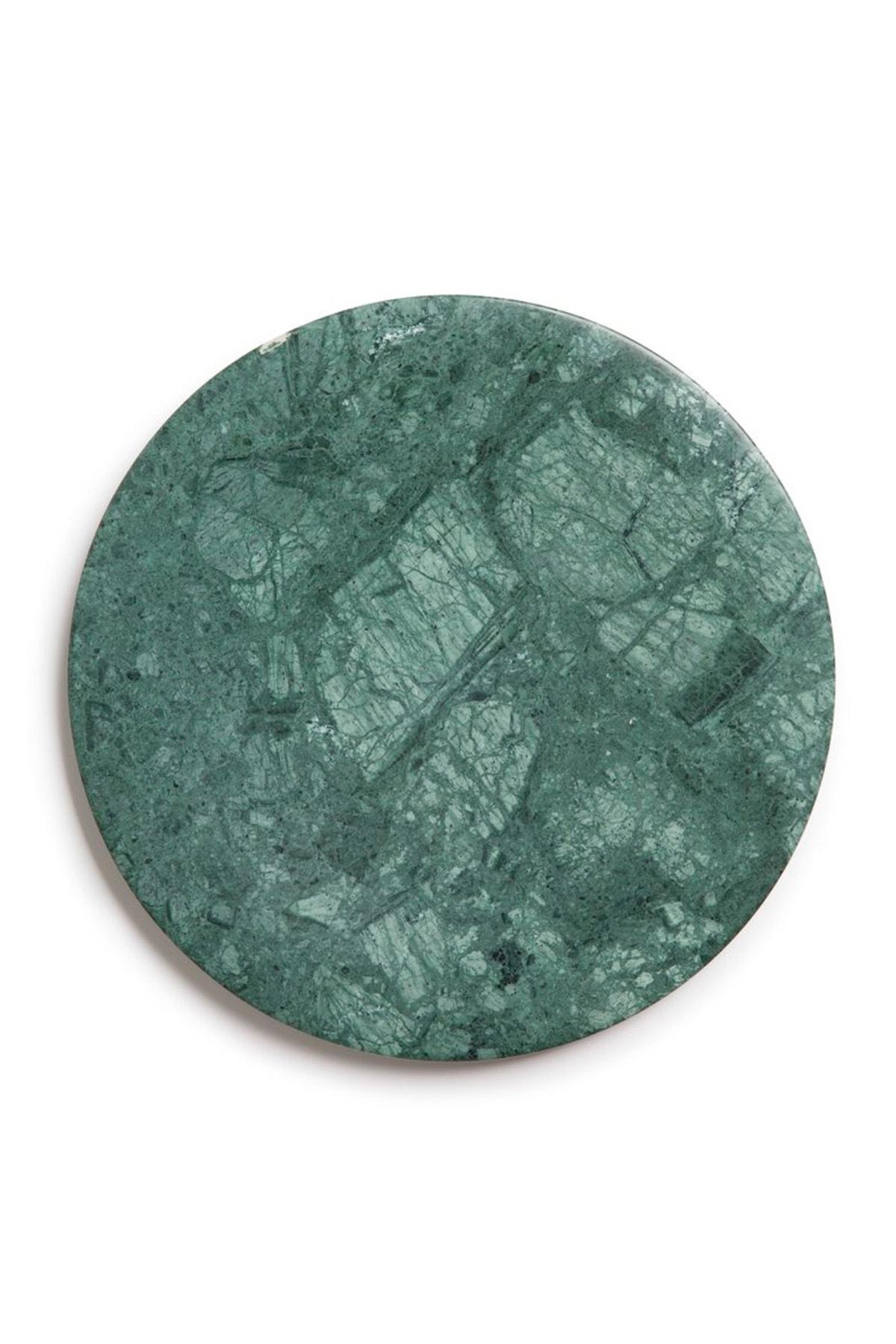 Fosil Mermer Yuvarlak Sunum Ve Servis Tepsisi, Kesim Tablası, Peynir Tabağı - Yeşil Mermer 2
