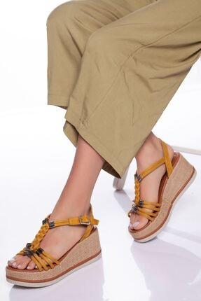 derithy Kadın Hardal Süet Dolgu Topuklu Ayakkabı