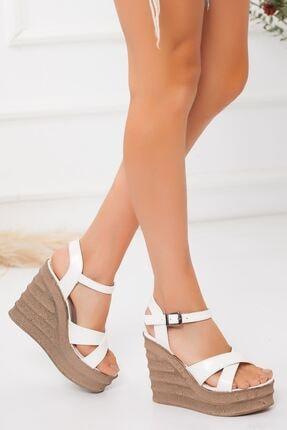 derithy -dolgu Topuklu Ayakkabı-beyaz Rugan