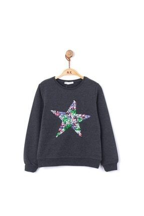 nk kids Kız Çocuk Pul Yıldızlı Sweatshirt 8-14