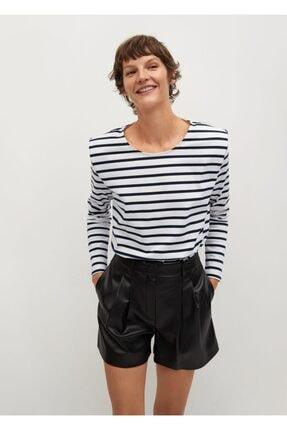 MANGO Woman Vatkalı Çizgili Tişört
