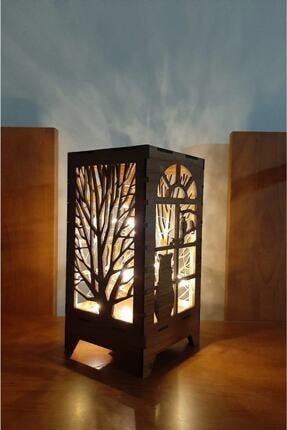 KAZIM ALIÇ Ahşap Abajur Masa Süsü Pilli Peri Led Kedi Ve Ağaç Desen Dekoratif Mini Özel Tasarım
