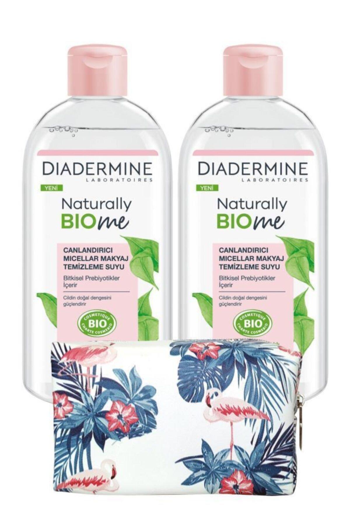 Diadermine Naturally Bio Me Canlandırıcı Micellar Makyaj Temizleme Suyux2 Adet+çiçekli Makyaj Çanta 1