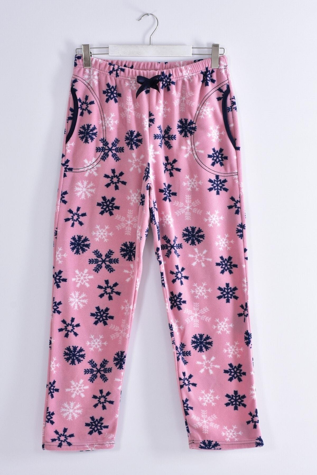 Pemilo Kadın Pudra Büyük Beden Cepli Welsoft Polar Tek Pijama Alt 245-03 1