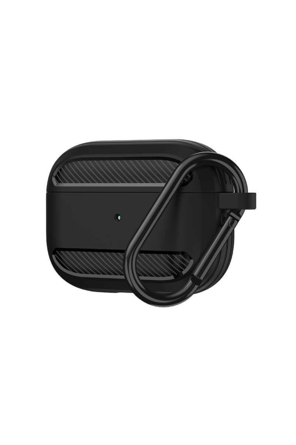 WIWU Apple Airpods Pro Kılıfı Karbon Tasarımlı Tpu Wireless Şarj Destekli Askılı Aparatlı Kılıf 1