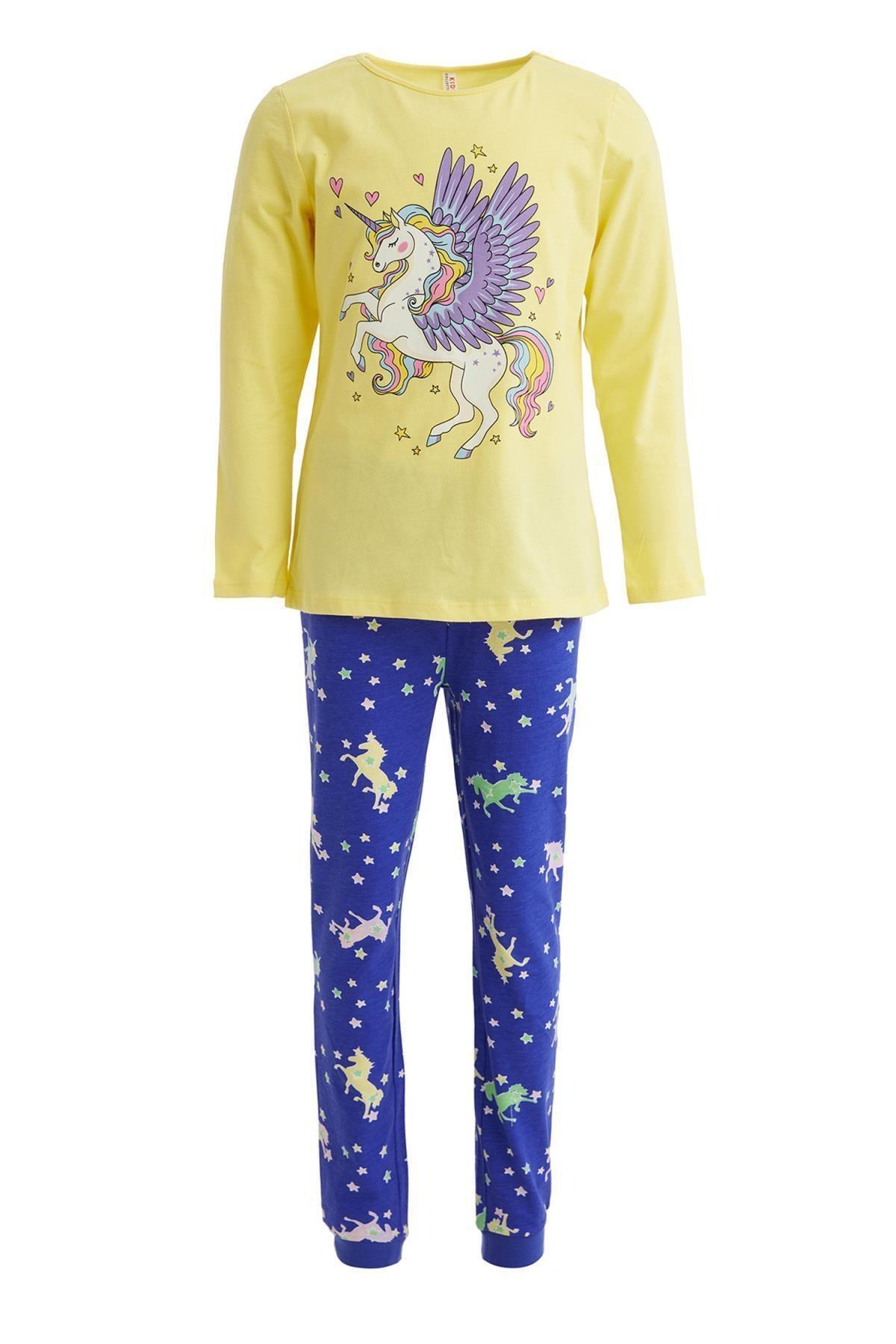 DeFacto Kız Çocuk Unicorn Baskılı Pijama Takım 1