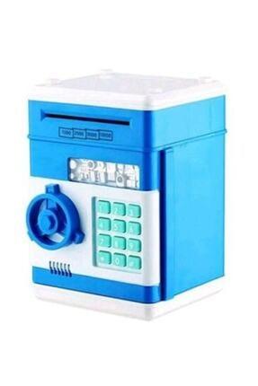AKIN PAZAR Atm Şifreli Otomatik Kağıt Para Alan Kasa Kumbara Mavi