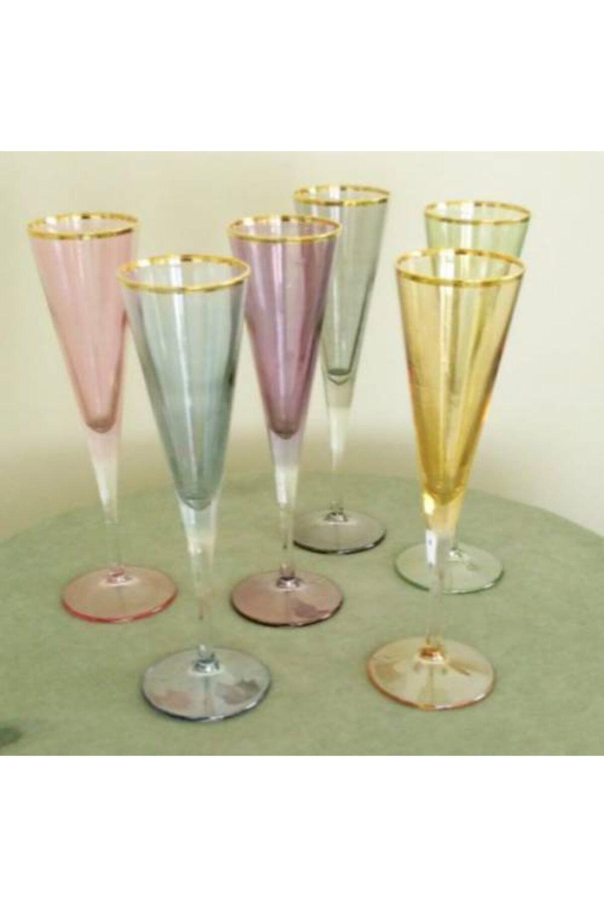 BBA HOME 6 Lı Paşabahçe Vline 150 Ml Ayaklı Bardak Renkli Gold Flüt Kahve Yanı Kadeh Bardak Şampanya Kadehi 1
