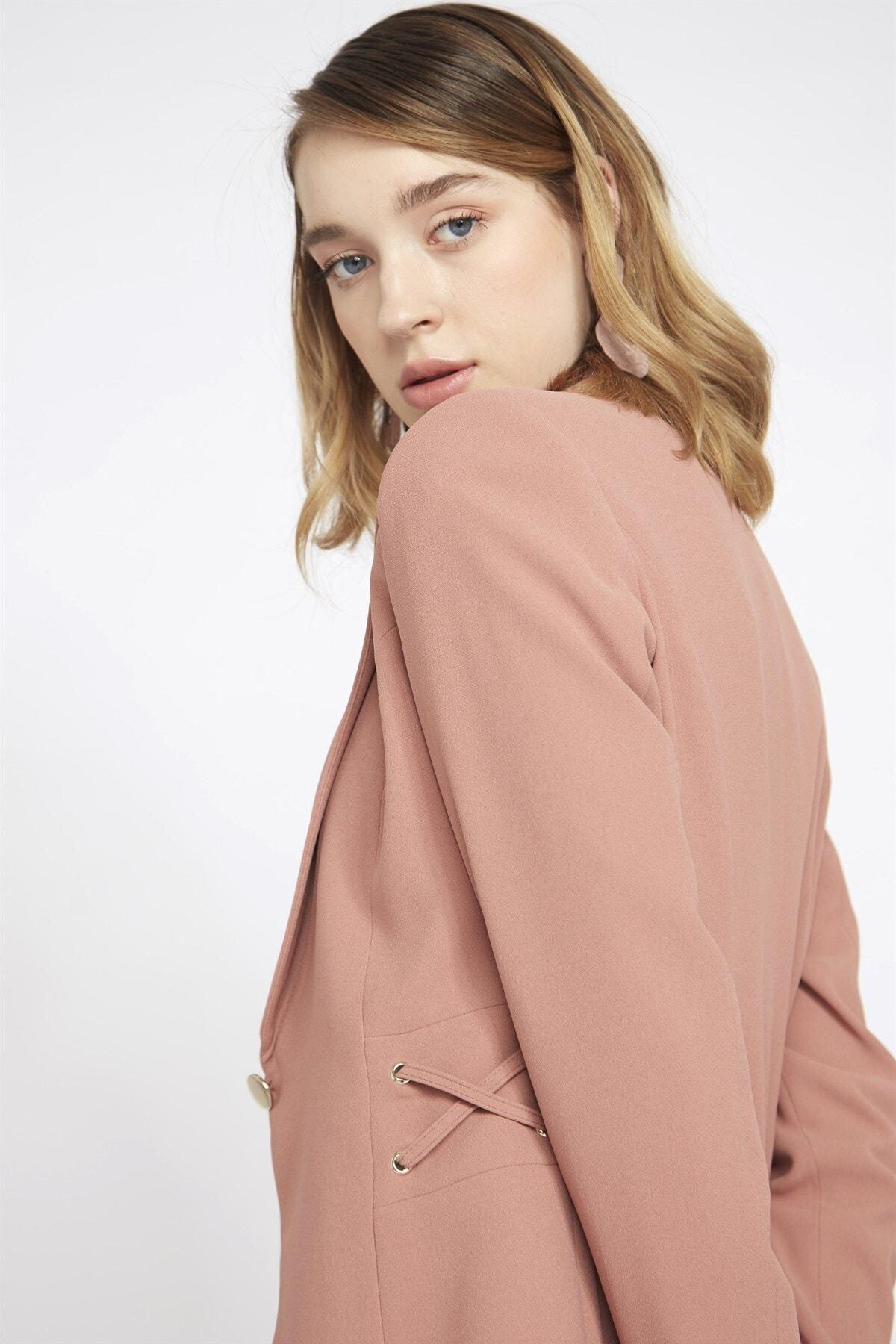 Chima Kadın Pembe Kuşgözü Detaylı Ceket 1